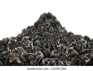 Big pile of trash bags on a white background