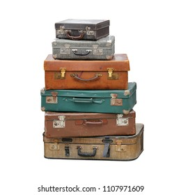 Big Pile of Vintage Suitcase Retro Luggage Travel Isolated