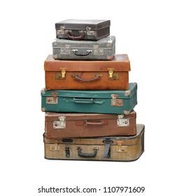 Big Pile of Vintage Suitcase Retro Luggage Travel Isolated
