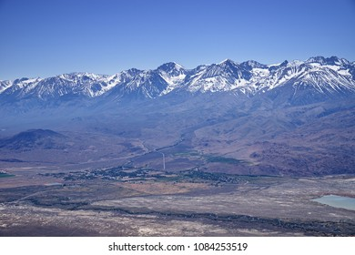 Big Pine California in the Owens Valley with the Sierra Nevada behind it from Black Mountain in the White Mountains