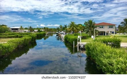 Big Pine Key, Florida, USA - July 21, 2016: Waterfront homes in Big pine key in Florida
