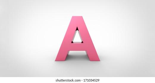 Big pink letter on a grey background