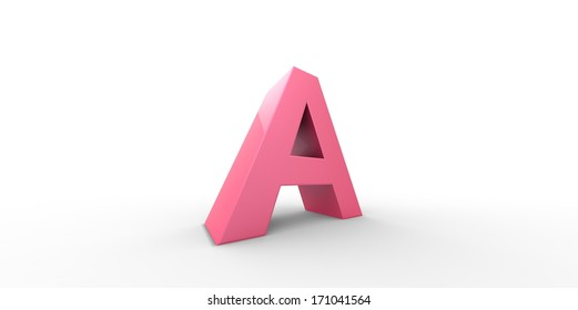Big pink letter on a white background