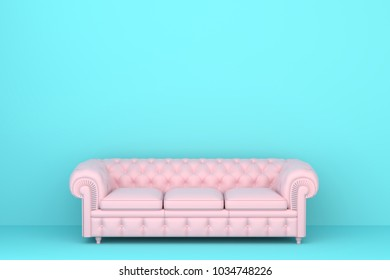 big pink sofa in a blue living room. Minimal style concept.  pastel color style.