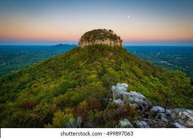 The Big Pinnacle of Pilot Mountain, seen from Little Pinnacle Overlook at Pilot Mountain State Park, North Carolina.