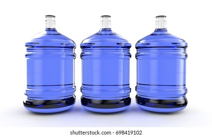 big plastic barrel, gallon bottle for office water cooler. 3D render, isolated on white background.