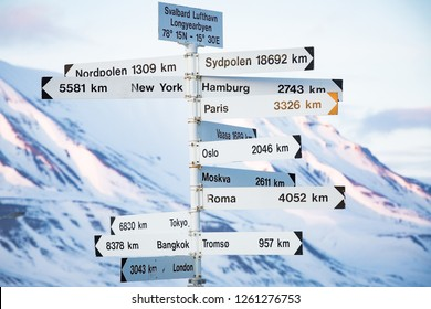 Big pole with directions signs and distances to cities of the world. Blue sky, mountains covered with snow. Longyearbyen, Spitsbergen, Norway