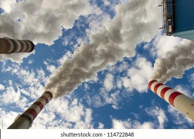 Big pollution in polish coal power plant.