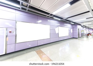 big portrait orientation blank billboard in public transport