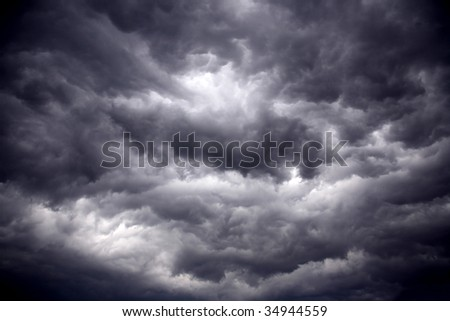 The big powerful storm clouds before a thunder-storm
