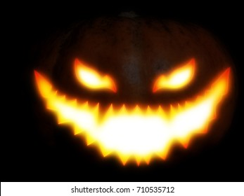 Big pumpkin with scary face for Halloween, photo manipulation.