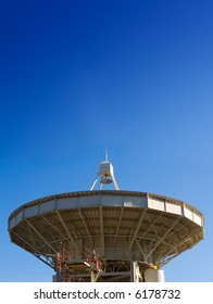 The big radio telescope on clear sky background. Crimea, Ukraine.
