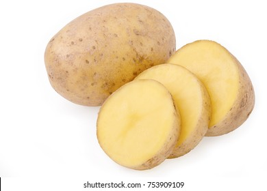 big raw potato tuber with slices isolated on white