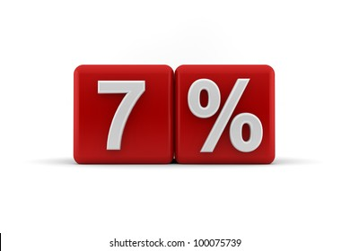 Big red 3D blocks with white 7 percent text