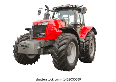 Big red agricultural tractor, front view