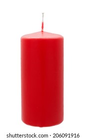 Big red candle on a white background nobody.