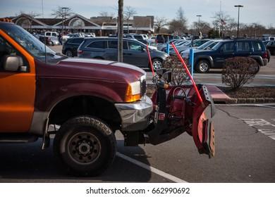 Big red car preparing for winter