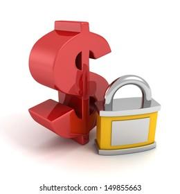 big red dollar symbol with money safety padlock