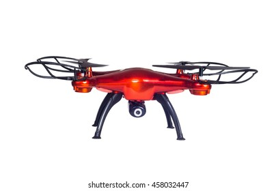 Big red drone isolated on white background. closeup