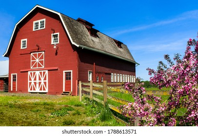 Big red farm barn view. Red barn on blue sky background. Red barn. Big red farm barn