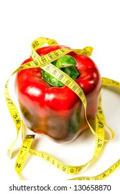 big red pepper is wound with the waist measuring instrument