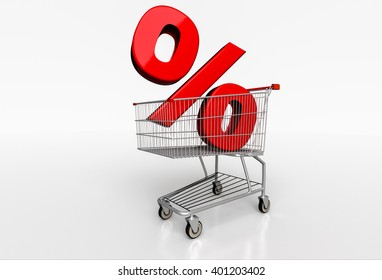 Big red percent sign in realistic shopping cart on white background. 3D render
