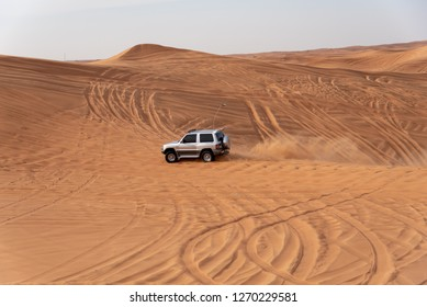 Big Red and Pink Rock, Sharjah, United Arab Emirates, December 28, 2018, Off-roading is one of the most attraction in United Arab Emirates and this area is one of the most visited place by off-roaders