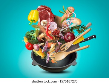 Big red pot with meat and vegetables