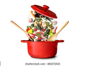 Big red pot for soup with vegetables