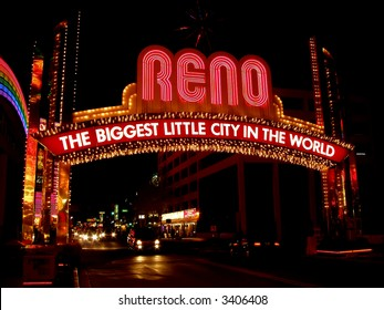 Big red Reno sign in downtown, Nevada