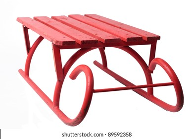Big red sledge on white