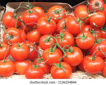 Big red tomatoes in the market