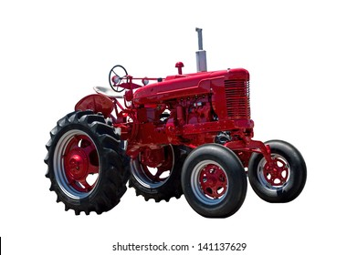 Big Red Tractor Isolated On White Background