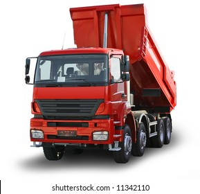 Big red truck isolated on the white background