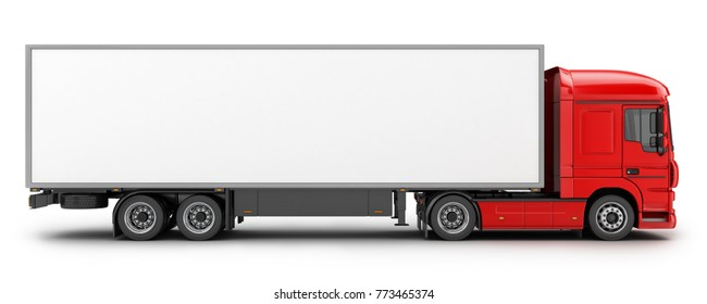 big red truck and trailer on white background. 3d illustration