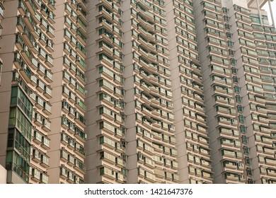 Big residential building facade in Hong Kong