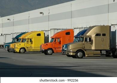 Big Rigs at Warehouse