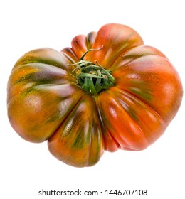 big ripe tomatoes with water drops isolated on white background