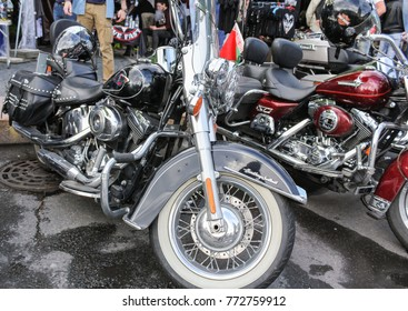 Big road motorcycles. St. Petersburg, Russia - 5 August, 2017. The annual Harley-Davidson Festival is held in the center of St. Petersburg.