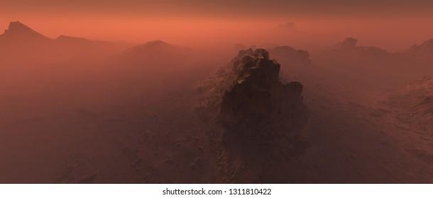 Big rock in bare rough rocky mars terrain in mist.