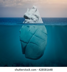 Big rock like iceberg floating in blue ocean at warm day. Global warming concept.