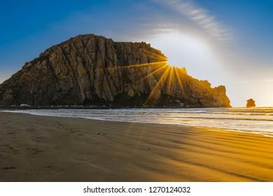 Big Rock in the ocean, sunset on the beach, Moro Rock, Moro Bay, California