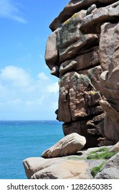 Big rock at the Pink Granite Coast near Perros Guirec in Brittany Cotes-d'Armor