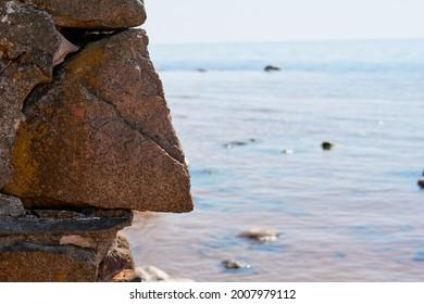 big rocks boulders pile on sea background. High quality photo