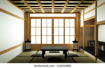 BIg roominterior design in modern living room with black low table ,lamp,vase, and decor Japanses style. 3D rendering