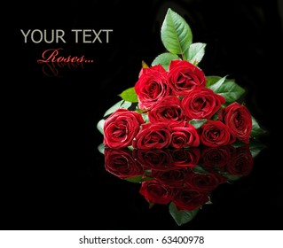 Big Roses Bouquet isolated on black
