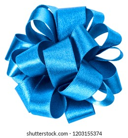 big round bow in blue color isolated on white background close up. Bow image for decoration design.