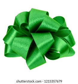 big round bow in green color isolated on white background. Bow image for decoration design.