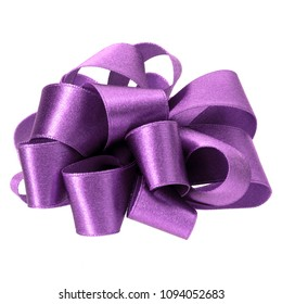 big round bow in lavender color isolated on white background close up