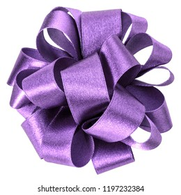 big round bow in lavender color isolated on white background close up. Bow image for decoration design.